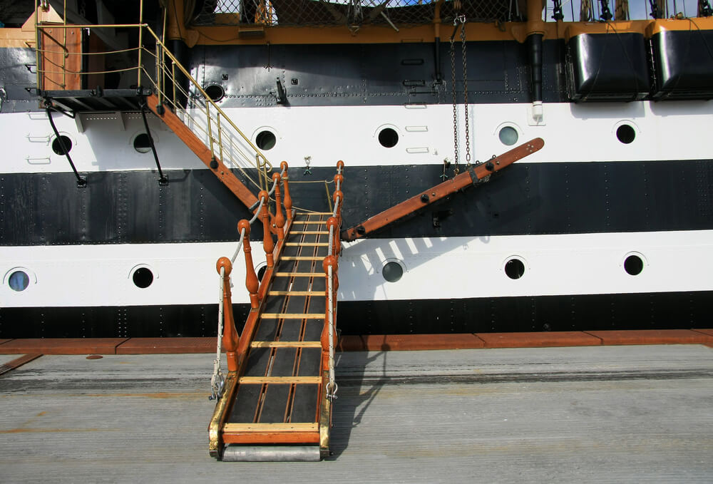 Wooden gangway on ship